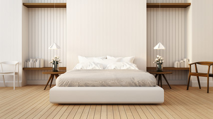 Loft and modern bedroom in white / 3D render image