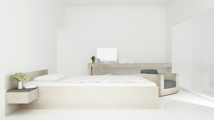 bedroom and workplace in home or hotel - Interior simple design - 3D Rendering