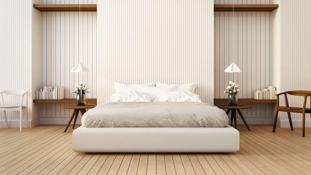 Loft and modern bedroom in white / 3D render image