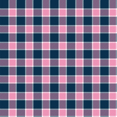 Pink, blue and white gingham seamless pattern. Vector background.