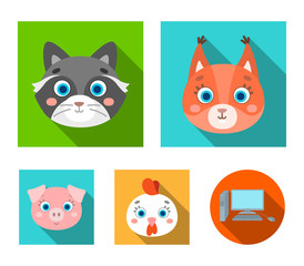 Protein, raccoon, chicken, pig. Animal's muzzle set collection icons in flat style vector symbol stock illustration web.
