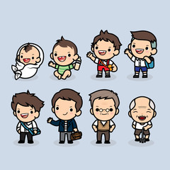 Set of man character in different ages , Generation of people and stages of growing up , baby, child, teenager, adult, uncle, elderly person , Vector illustration in cute cartoon.