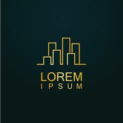 gold line cityscape logo