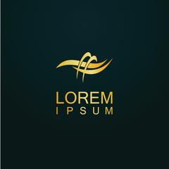 gold loop art abstract logo