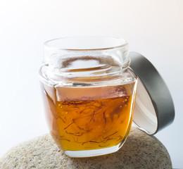 a jar with exotic saffron blended honey