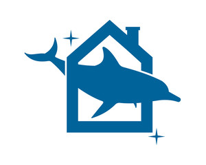 sparkling dolphin blue house housing home image vector icon