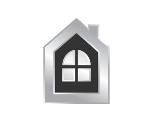 black silver house housing home residence residential real estate image vector icon