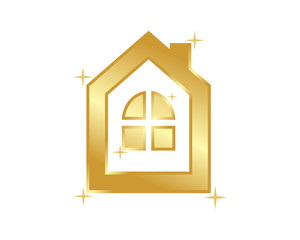 golden bronze house housing home residence residential real estate image vector icon