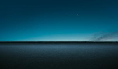 Asphalt empty road side with  night sky background . Fotoväggar
