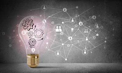 Concept of lightbulb as symbol of new idea.