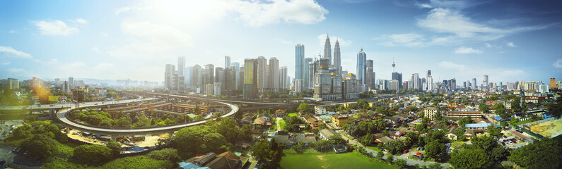 Panorama cityscape view in the middle of Kuala Lumpur city center ,day time , Malaysia . Fototapete