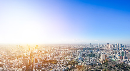 Fototapete - Asia Business concept for real estate and corporate construction - panoramic modern city skyline bird eye aerial view of Shinjuku & Shibuya under blue sky in Roppongi Hill, Tokyo, Japan
