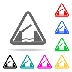 Lifting bridge warning sign icon. Elements in multi colored icons for mobile concept and web apps. Icons for website design and development, app development