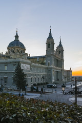 Sunset view of Almudena Cathedral in City of Madrid, Spain