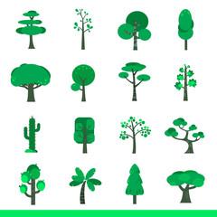 Iicon set of green trees