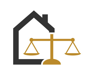 scale weight law judge court house housing home image vector icon