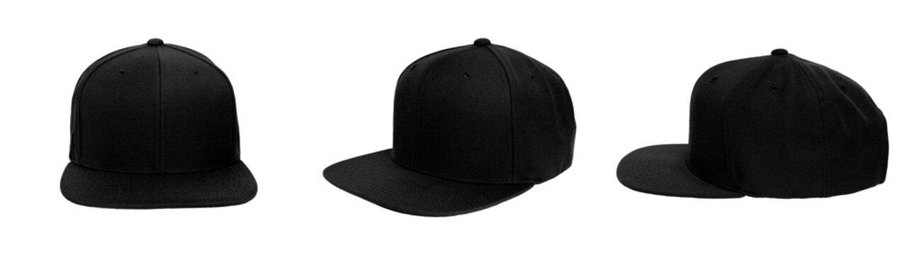 Blank baseball snap back cap color black on white background