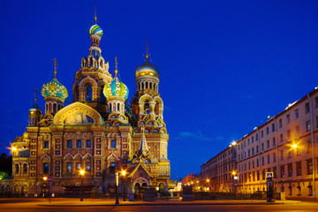 St.-Petersburg, Church of the Savior on Blood and the night lights.
