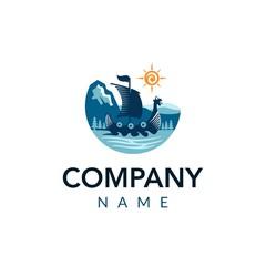 travel ship vector logo icon illustration