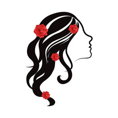 Beauty girl avatar with roses