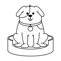 cute dog in the mattress mascot vector illustration design