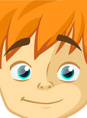 Happy cartoon boy face. Vector illustration of a little kid face avatar. Portrait of a boy smiling