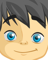 Cute cartoon boy face. Vector illustration of a little kid face avatar. Portrait of a boy smiling