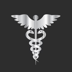 Metal Medical Icon - Caduceus - Rod of Hermes