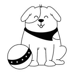 cute dog with plastic balloon mascot vector illustration design