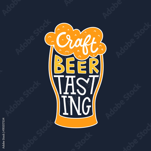 Craft Beer Tasting Hand Drawn Lettering In A Glass Vector