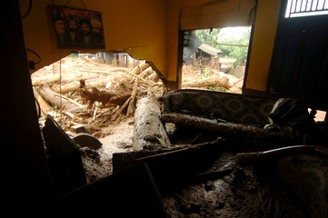 Trees' trunks as seen inside a house after a landslide hit Pasir Panjang village in Brebes