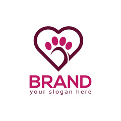 Dog paws with heart icon. Logo Vector