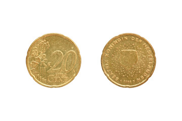 Twenty Euro cent coin On the reverse of Queen Beatrix