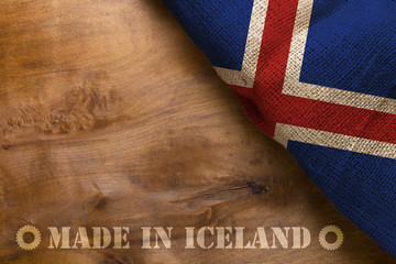 Flag and stamp made in Iceland