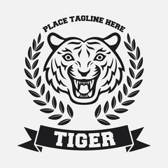 Mascot of black tiger's head on white background