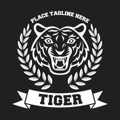 Mascot of white tiger's head on black background