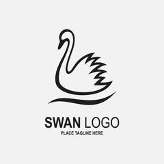 Black swan icon isolated on white background
