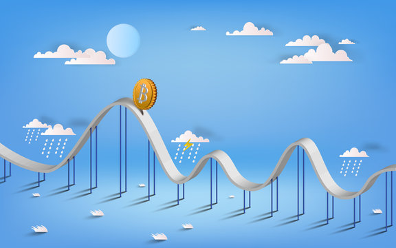 Bitcoin currency symbol and business graph illustration design isolated graphic. Bitcoin roller coaster.  3D vecter illustration