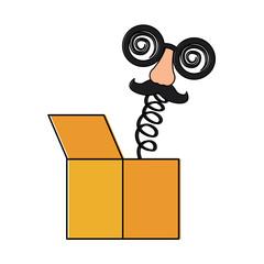 joke box crazy glasses nose mustache surprise icon vector illustration