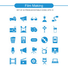 Film making icons set blue