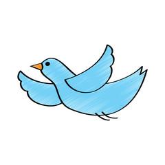 cute blue bird cartoon flying waving vector illustration drawing design color