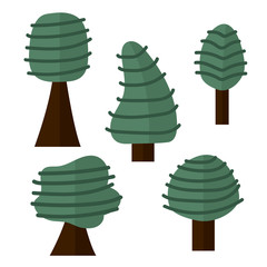Set of trees in hand-drawn style, Cute tree for cartoon isolated on white background. Vector illustration