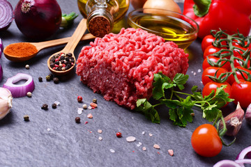 Beef minced with spices and vegetables
