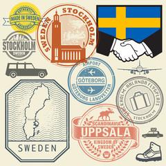 Travel stamps or symbols set Sweden, Scandinavia