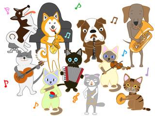 犬と猫のコンサート。犬と猫が楽器を演奏している