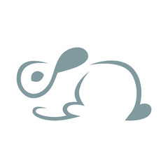 Abstract cute bunny rabbit symbol, icon on white background. Design element