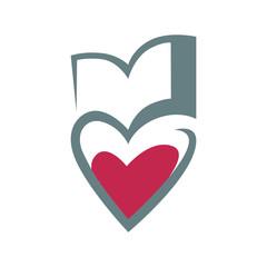 Loving books concept symbol, icon on white background. design element