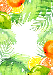 Watercolor postcard, frame, invitation, composition, greeting card from orange pattern, tangerine, citrus slices, lime, branches, palm leaves  on white isolated background.
