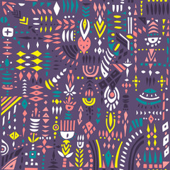 Seamless vector pattern of geometric shapes and stylized flowers. Colorful on purple.