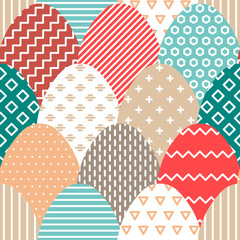 Vector Easter seamless pattern of colorful flat eggs with hatching.